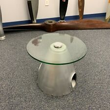 "Raw Airplane Propeller Aviation Spinner Cone Bulkhead 18"" Glass Coffee Table"