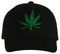 Marijuana Leaf Adjustable Hat Cap - Black
