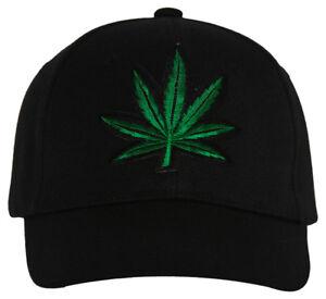 Marijuana Leaf Adjustable Hat Cap - Black
