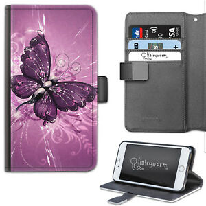 Purple Butterfly Phone Case, PU Leather Flip Case, Cover For Samsung, Apple