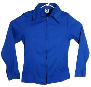 Royal Highness Equestrian Zip Up Ladies Show Shirt XL Blue Cotton Lycra