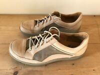 GANTER Shoes Lace Up Casual Trainer Leather Canvas Beige Size UK 8 EUR 42