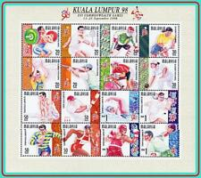 MALAYA 1998 COMMONWEALTH SPORTS GAMES notfolded FUL M/S MNH GYMNASTICS, RUGBY
