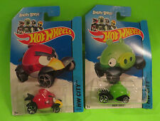 2013 HOTWHEELS ANGRY BIRDS RED & MINION PIG GREEN LOT OF TWO IN PACKAGE