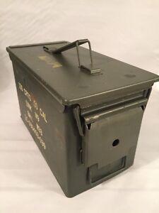 MILITARY 50 Cal Ammo Can M2A1 Green Ammunition Tin Box