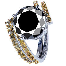 6.19+ct Black Moissanite & Raw Golden Natural Diamond .925 Silver Bridal Ring