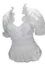 Damen Bluse Damenblusen Corsage Tunika Rüschenbluse Freizeitbluse Wei�Ÿ Kurzarm