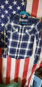 Ladies MOSSIMO SUPPLY CO. COWGIRL WESTERN PEARL SNAP PLAID FLANNEL SHIRT..SMALL