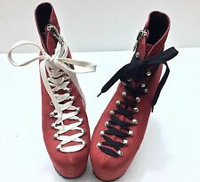 UNIF Hellbound Red 100% Leather Suede Harley Quinn Platform Heel Boots Size 6