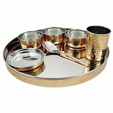 Indian Dinnerware/ Stainless Steel Copper Traditional Dinner Set Of Thali Plate