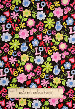 Peace Love Bird Flower Power Heart Novelty Cotton Fabric Traditions Fabric Yard