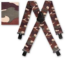 "Brimarc Mens Braces Heavy Duty Suspenders 2"" 50mm Wide Woodland Camo Braces"