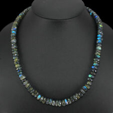 297.05 CTS NATURAL BLUE FLASH ROUND FACETED LABRADORITE  BEADS NECKLACE