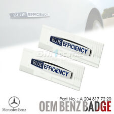 2x GENUINE OEM MERCEDES BENZ BLUE EFFICIENCY CHROME SIDE FENDER EMBLEM BADGE AMG