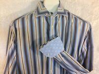 Robert Graham Flip Cuff Shirt Button Front Blue Brown White Striped Size Large
