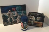 "Vintage & RARE ""The Astronauts"" Metal Lunchbox & Thermos W/Bonus Holograph Pictu"