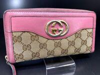 Auth GUCCI GG Interlocking Pink Canvas Leather Zip Round Long Wallet Purse Y1159