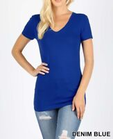 Womens V Neck Basic Shirts Short Sleeve Cotton Spandex Top T Slim Fit S M L XL