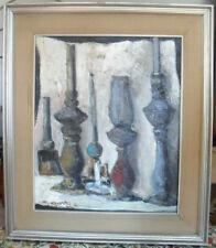 "Rocco Carvelli - ""Candelabri"" dipinto a olio su tela con pass-partout cm.50 x 60"