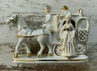 White Gold Porcelain Carriage Horses Victorian Era Style Collectible