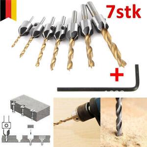 7tlg 3-10 mm HSS Versenker Aufstecksenker Senker Senkbohrer Holzbohrer Set Neu