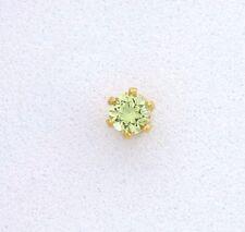 Gem Stone Goldplated Tie Tack Estt189 3mm Round Natural Arizona Peridot Gemstone