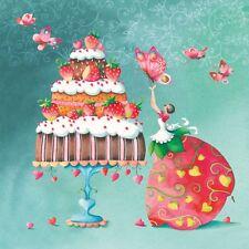 """4 Servietten """"ERDBEERKUCHEN"""" 33x33 Napkins Kuchen Schmetterlinge Torte Herzen"""