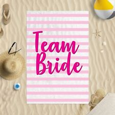 "58 x 39"" Beach Towel Team Bride Pink Striped Design Microfibre Wedding Hen Do"