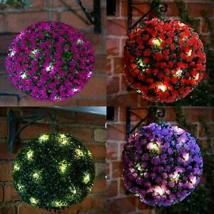 2X Spectacular Solar Power Topiary Ball 20 LED  Lights Garden Hanging 28 CM