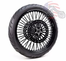 """Black Out 21"""" 3.5"""" 52 Mammoth Fat Spoke Wheel Tire Package Harley 08+ Touring AB"""