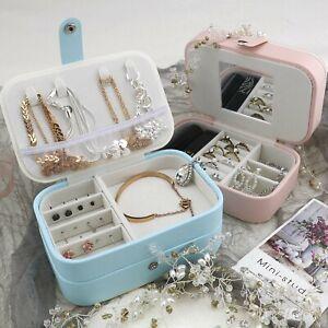 Lockable Women Girl Jewelry Display Case Large Capacity Organiser Box Pink/Blue