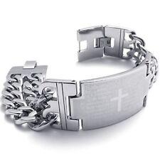 Mendino Men's Spanish Bible Prayer Cross Silver 316l Stainless Steel Bracelet