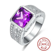 Noble Jewelry Amethyst & White Topaz Gems 925 Sterling Silver Ring Size 6 7 8 9