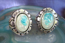 Ring Vintage Style Tibet Silver Oval Shell Pearl Light Blue White in Resin