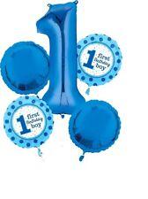 Anagram 1 FIRST BIRTHDAY BOY Blue Foil Balloon Bouquet