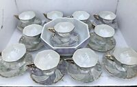 Set (11) Pearlized China Teacup & Saucer, Opalescent Purple Green Gold w/Bowl