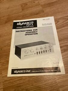 Dynaco PAT-4 Preamplifier Assembly Operation Instructions *Original*