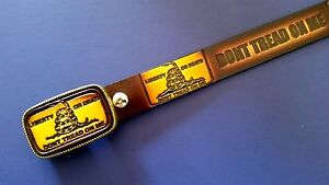"""""""Dont Tread on ME"""" Leather Belt & Matching Leather Buckle (28""""-54"""" waist) New"""