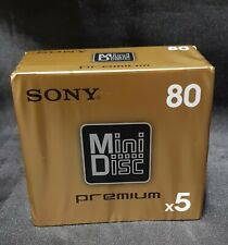 Sealed pack of 5 Sony Premium 80mins Blank Minidiscs Made in  Japan.