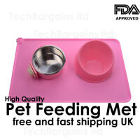 {PINK} Pet Puppy Silicone Waterproof Feeding Food Mat Dog Cat Non Slip Placemat