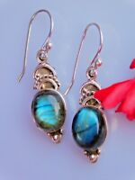 Tribal 925 Sterling Silver Fine Artisan Silver Earring With Flashy Labradorite
