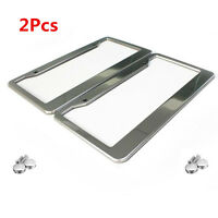 2Pcs New Stainless Steel License Plate Frame Tag Cover + 4 Screw Caps for US Car