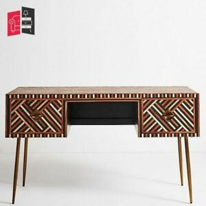 Bone Inlay Optical Design 2 Drawer Console Table Brown (MADE TO ORDER