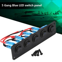 5 Gang Round Toggle Switch Panel Blue LED Dual USB 12V for Boat Car Marine Truck