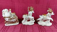 Santa Reindeer Sleigh Candlestick Holder Set International Bazaar Gold Vintage
