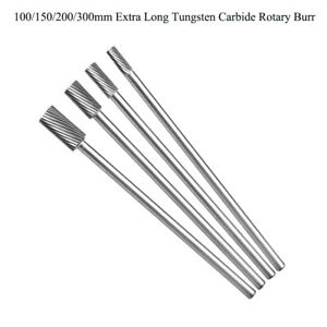 6-16mm Tungsten Carbide Rotary Burr Cutter Extra Long 1/4'' Shank Engraving Bit