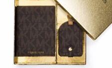 771b54446cb3 Michael Kors Brown Passport Case Luggage Tag Travel Box Set Wallet New
