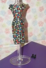 Vintage Barbie T.M. Apple Print Sheath #1 Black Open Toe Heels #917 (1959,1960)