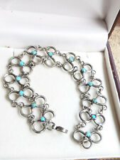 Elegant Vintage Handcrafted St Silver Turquoise Seed Bead Open Work Bracelet 950