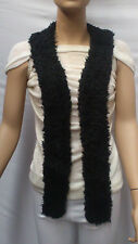 FASHION FAUX FUR COLLAR : PRE CUT AND FULLY LINED : SHAGGY LONG BLACK : #T594 -